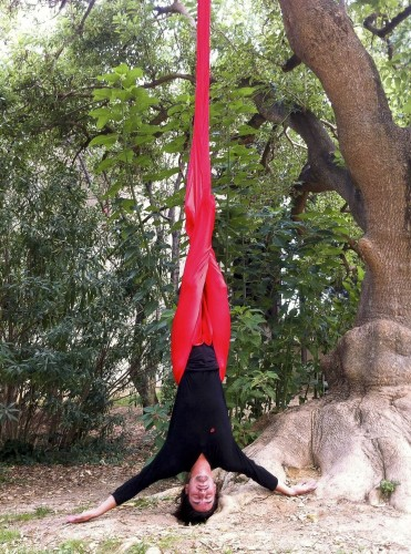 red silk to make yoga hammocks