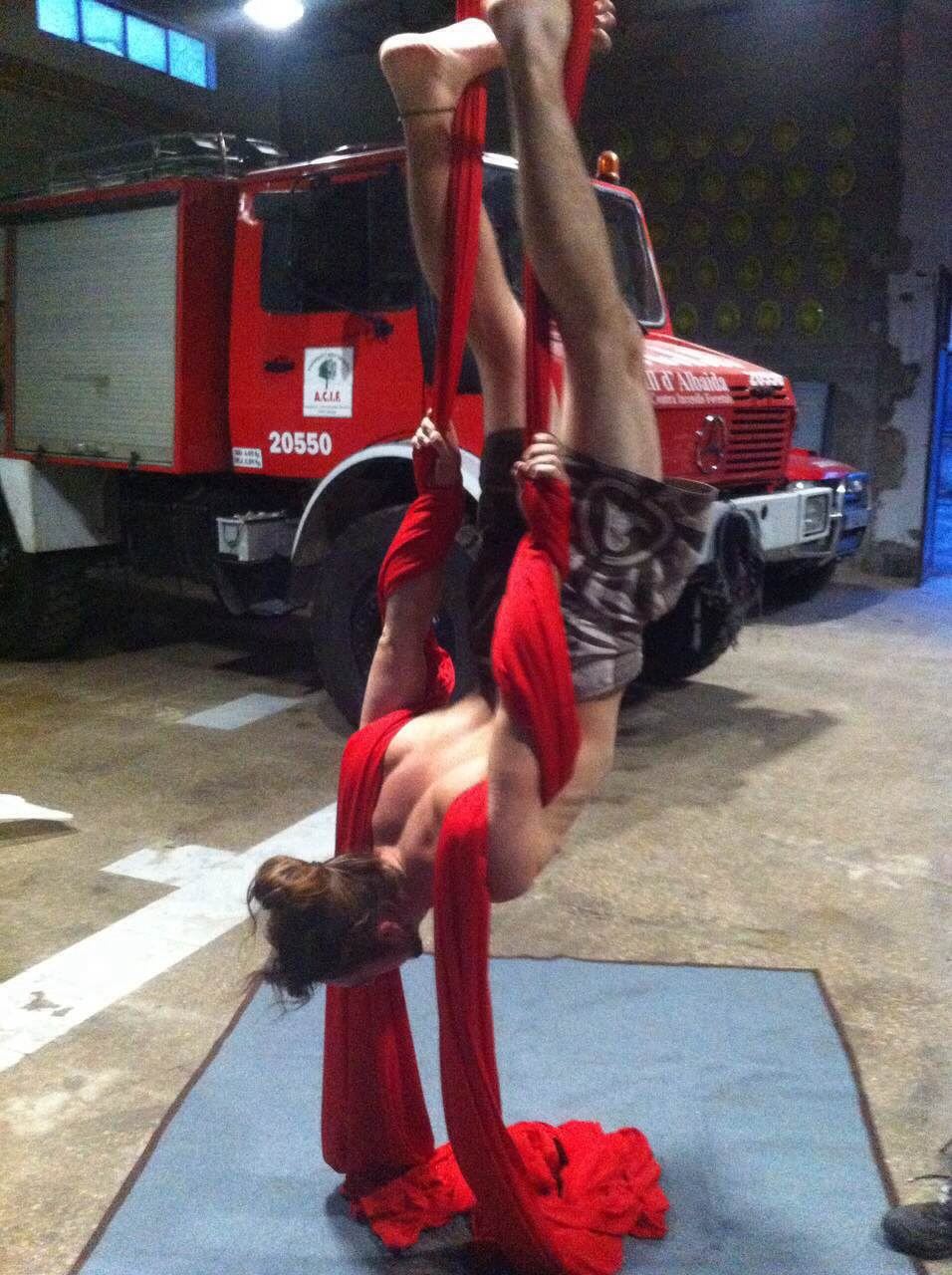 aerial silks fire workers