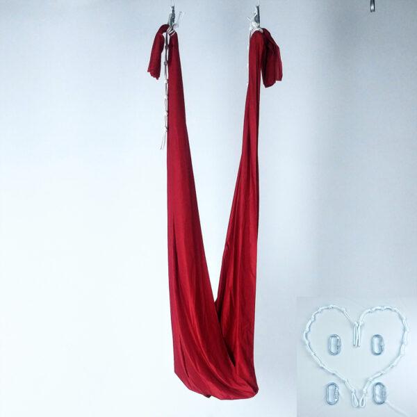 red yoga swing with height regulators