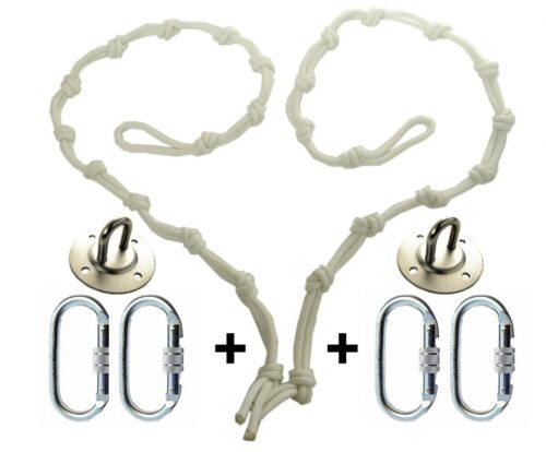 white hight regulators or daisy chain with 4 climbing carabiners and ceiling hooks for yoga hammocks
