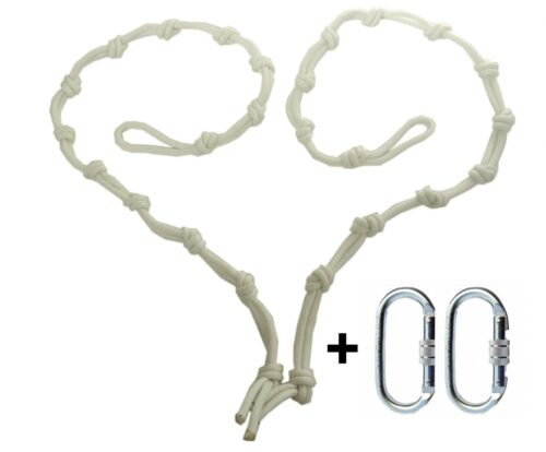 white hight regulators or daisy chain with 2 climbing carabiners for yoga hammocks