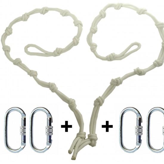 regulador de altura de cuerda blanco con 4 mosquetones