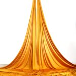 On-stage gold aerial silks