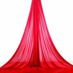 on stage red aerial silks for performances