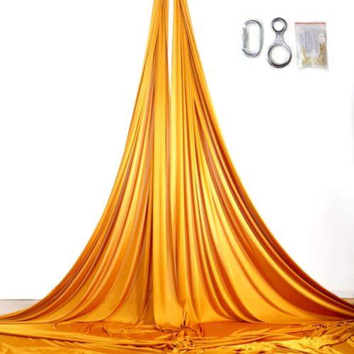 gold aerial silks, tessuti aerei oro, telas aéreas oro