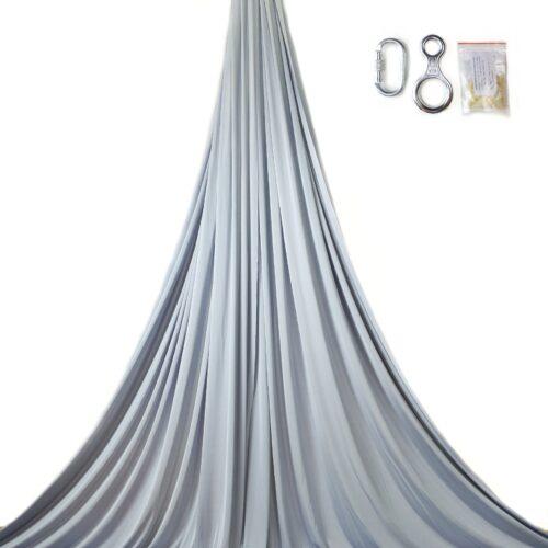 silver aerial silks for performances, tessuti aerei argento, telas aéreas gris plata