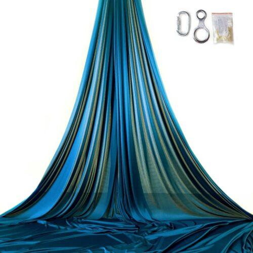 aerial silks for performancas, tissu aerien pour espectacles, tessuti aerei azzurro petrolio